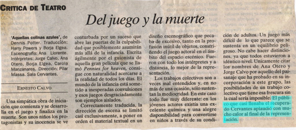 Aquellas Colinas Azules, critica por Ernesto Calvo