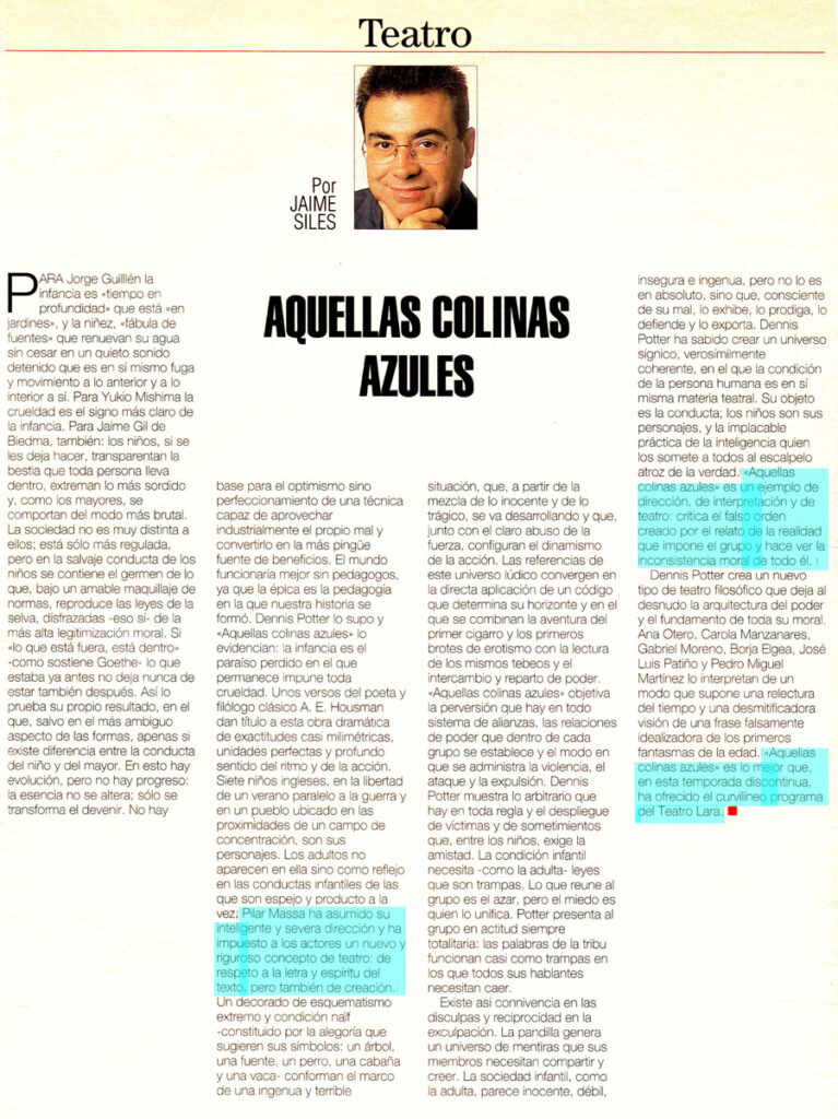Aquellas Colinas Azules, critica por Jaime Siles