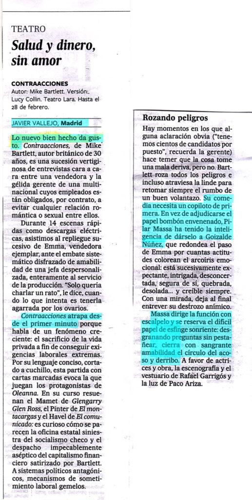 Critica Contracciones en el diario El País