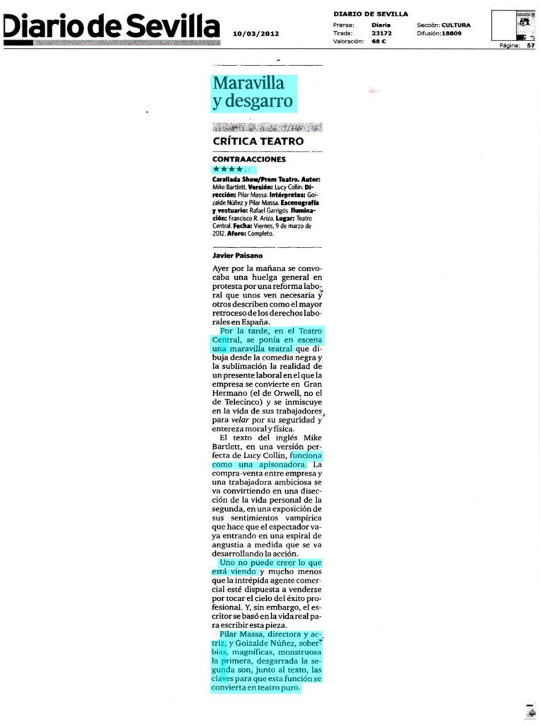 Critica Contracciones en el diario de Sevilla