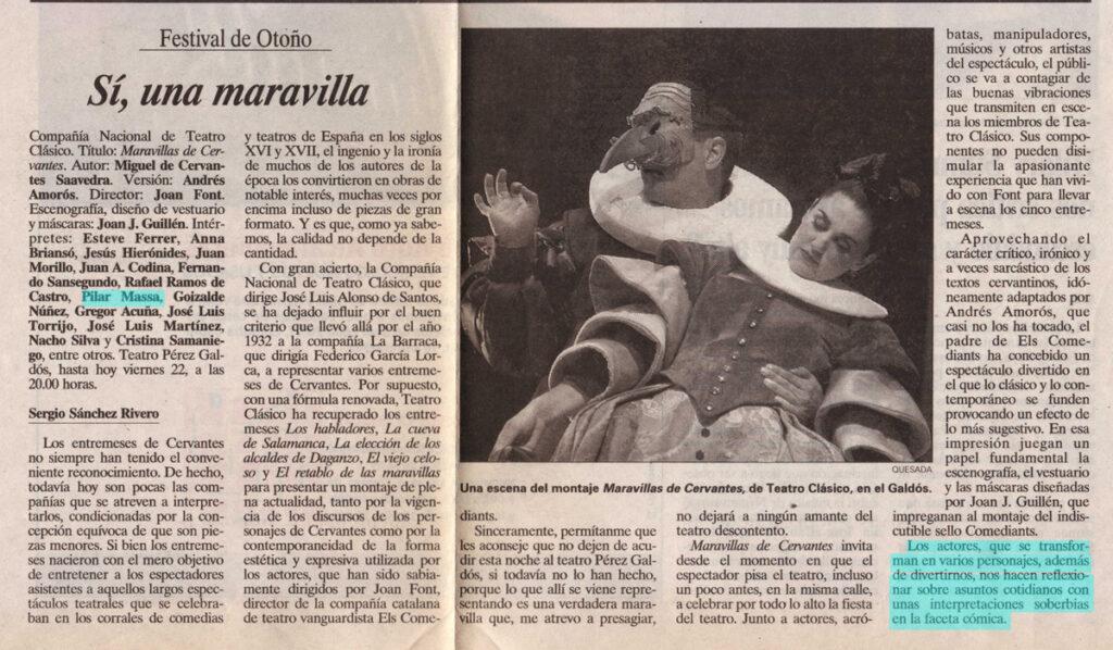 Maravillas de Cervantes, critica en el diario de Cádiz