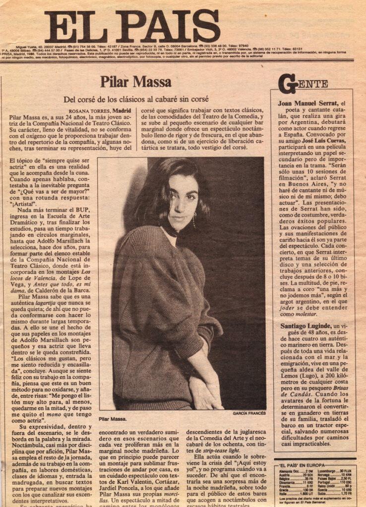 Pilar Massa, contraportada El País