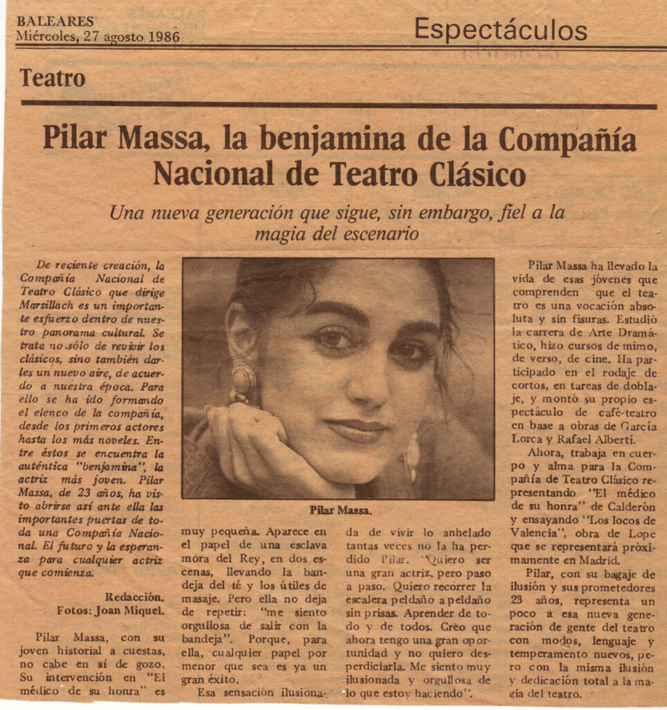 Pilar Massa en el periodico de Baleares